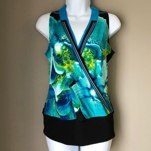Cache split front watercolor abstract top  size XS